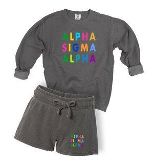 Alpha Sigma Alpha Comfort Colors Crew and Short Set