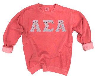 Alpha Sigma Alpha Comfort Colors Lettered Crewneck Sweatshirt