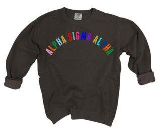 Alpha Sigma Alpha Comfort Colors Rainbow Arch Crew