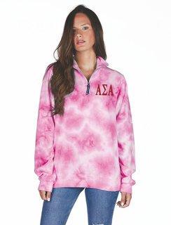 Alpha Sigma Alpha Crosswind Tie-Dye Quarter Zip Sweatshirt