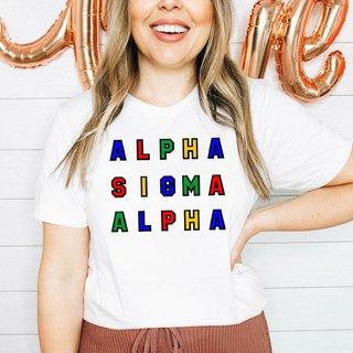Alpha Sigma Alpha Custom Colors Embroidered Nickname Tee
