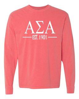 Alpha Sigma Alpha Custom Greek Lettered Long Sleeve T-Shirt - Comfort Colors