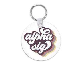 Alpha Sigma Alpha Retro Script Keychain