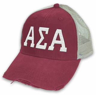 Alpha Sigma Alpha Distressed Trucker Hat