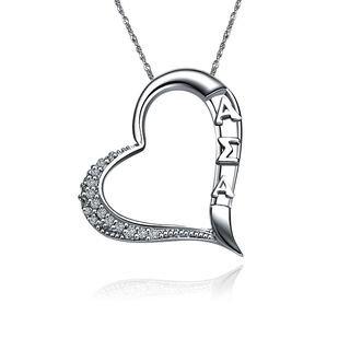 Alpha Sigma Alpha Embedded Heart Silver  Lavaliere