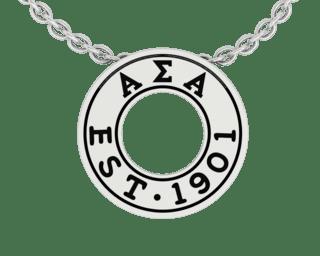 Alpha Sigma Alpha Eternity Silver Charm Lavalier