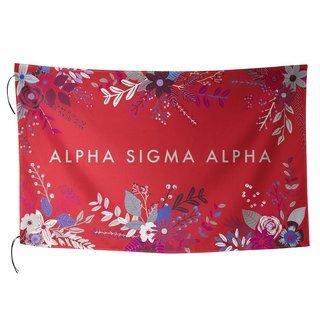 Alpha Sigma Alpha Floral Flag