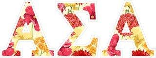 "Alpha Sigma Alpha Floral Greek Letter Sticker - 2.5"" Tall"