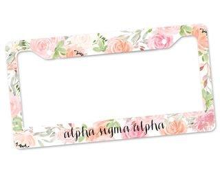 Alpha Sigma Alpha Floral License Plate Frame