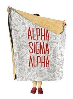Alpha Sigma Alpha Floral Sherpa Lap Blanket