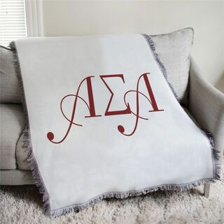 Alpha Sigma Alpha Greek Letter Afghan Blanket Throw