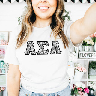Alpha Sigma Alpha Leopard Print Lettered Tee