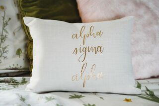 Alpha Sigma Alpha Gold Imprint Throw Pillow