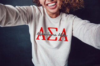 Alpha Sigma Alpha Greek Type Crewneck Sweatshirt