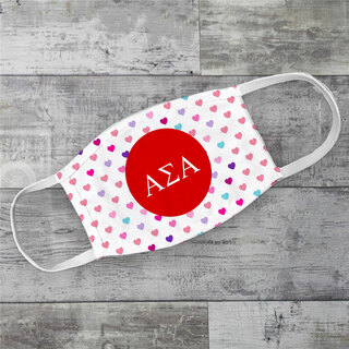 Alpha Sigma Alpha Hearts Face Mask