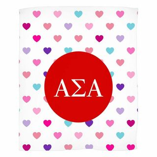 Alpha Sigma Alpha Hearts Fleece Blanket