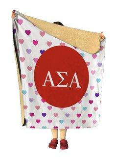 Alpha Sigma Alpha hearts Sherpa Lap Blanket