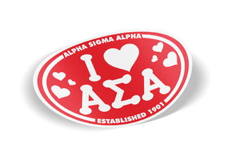 Alpha Sigma Alpha I Love Sorority Sticker - Oval
