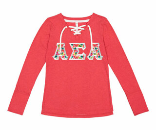 Alpha Sigma Alpha LAT - Sorority Fine Jersey Lace-Up Long Sleeve T-Shirt