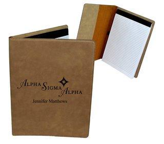 Alpha Sigma Alpha Mascot Leatherette Portfolio with Notepad