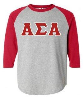 DISCOUNT-Alpha Sigma Alpha Lettered Raglan Shirt