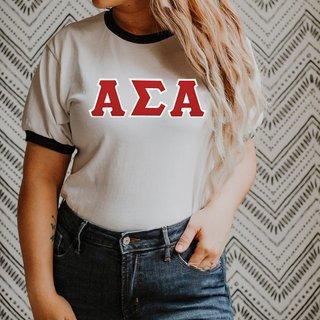 DISCOUNT-Alpha Sigma Alpha Lettered Ringer Shirt