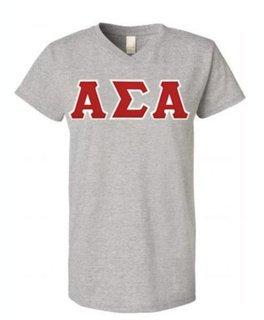 DISCOUNT-Alpha Sigma Alpha Lettered V-Neck Tee
