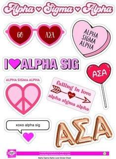 Alpha Sigma Alpha Love Theme Stickers