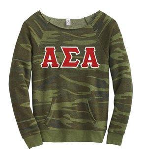 DISCOUNT-Alpha Sigma Alpha Maniac Camo Fleece Sweatshirt