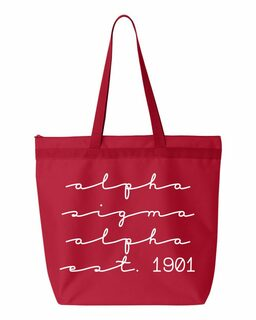 Alpha Sigma Alpha New Script Established Tote Bag
