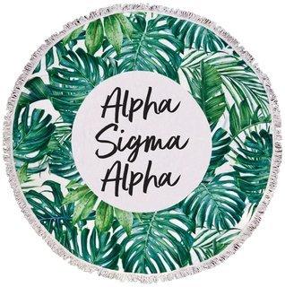 Alpha Sigma Alpha Palm Leaf Fringe Towel Blanket