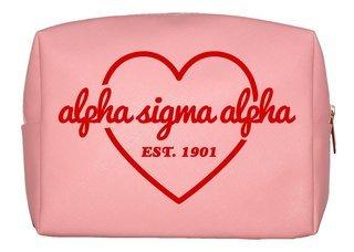 Alpha Sigma Alpha Pink with Red Heart Makeup Bag