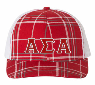 Alpha Sigma Alpha Plaid Snapback Trucker Hat