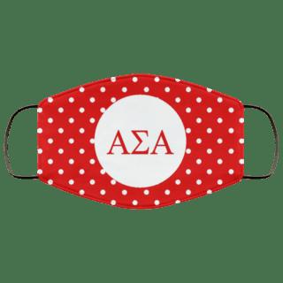 Alpha Sigma Alpha Polka Dots Face Mask