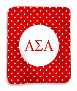 Alpha Sigma Alpha Polka Dots Sherpa Lap Blanket