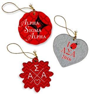 Alpha Sigma Alpha Porcelain Ornament Trio Set