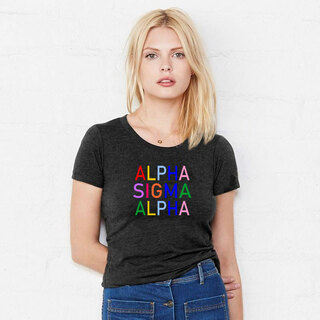 Alpha Sigma Alpha Rainbow Triblend Short Sleeve Tee