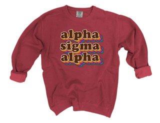 Alpha Sigma Alpha Retro Maya Comfort Colors Crewneck Sweatshirt