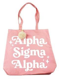 Alpha Sigma Alpha Retro Pom Pom Tote Bag