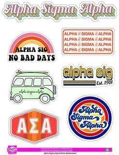 Alpha Sigma Alpha Retro Sticker Sheet