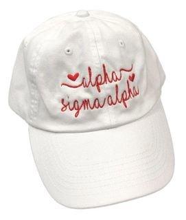 Alpha Sigma Alpha Script Hearts Ball Cap
