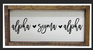 Alpha Sigma Alpha Script Wooden Signs