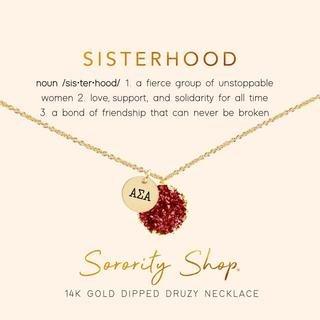 Alpha Sigma Alpha Sisterhood Druzy Necklace