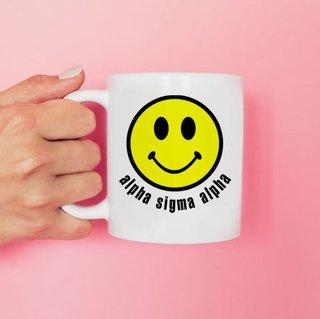 Alpha Sigma Alpha Smiley Face Coffee Mug - Personalized!