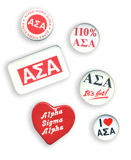Alpha Sigma Alpha Sorority Buttons 6-Pack