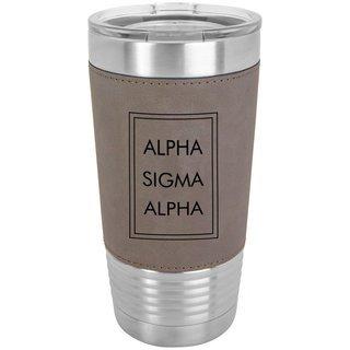 Alpha Sigma Alpha Sorority Leatherette Polar Camel Tumbler