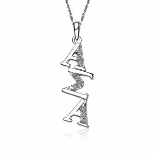 Alpha Sigma Alpha Sterling Silver Diagonal Lavaliere set with Lab-Created Diamonds