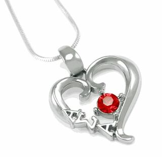 Alpha Sigma Alpha Sterling Silver Heart Pendant with Red Crystal