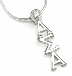 Alpha Sigma Alpha Sterling Silver Lavaliere Pendant with Swarovski Clear Crystal