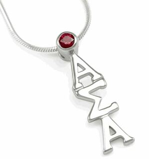 Alpha Sigma Alpha Sterling Silver lavaliere with Red Crystal